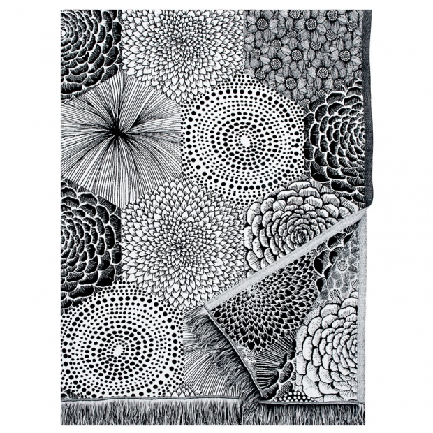 Lněná deka / ubrus Ruut 140x240, černo-bílá