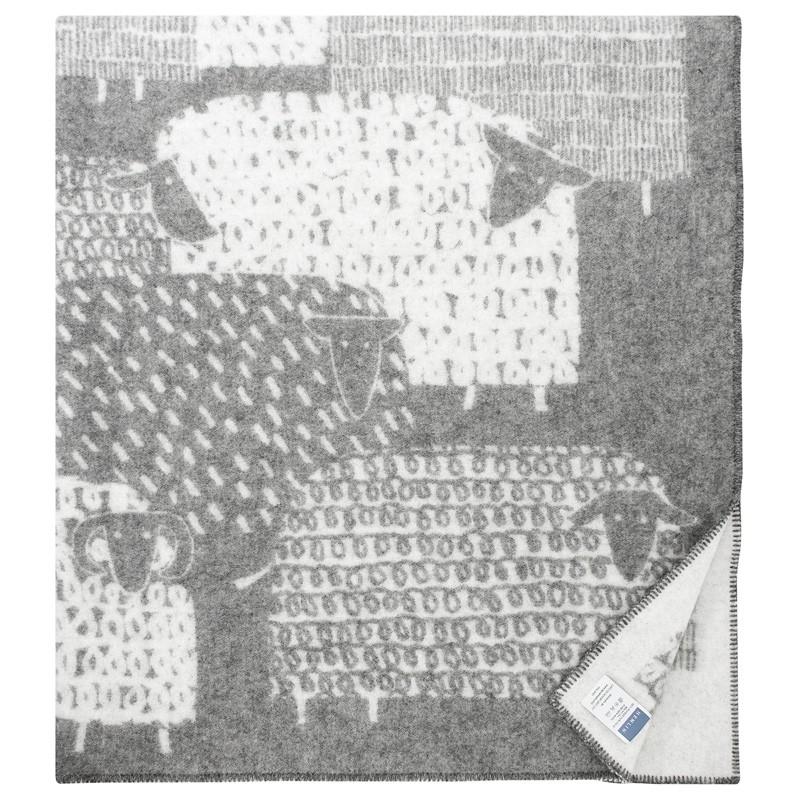 Vlněná deka Päkäpäät 130x180, šedo-bílá