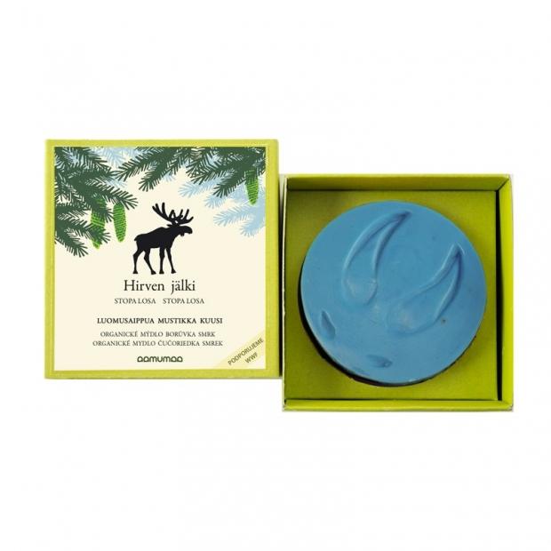 Prírodné mydlo so stopou losa 85g, čučoriedka smrek