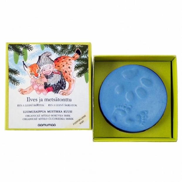 Přírodní mýdlo rys a lesní skřítek 85g, borůvka smrk