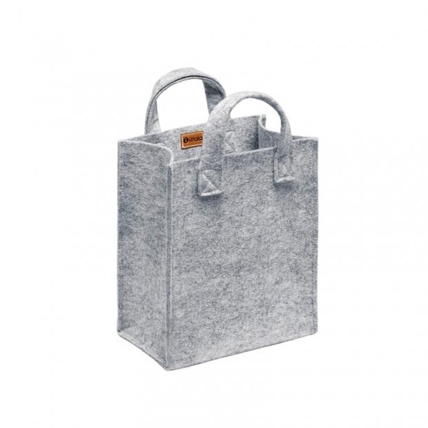 Plstená taška Meno, malá / sivá