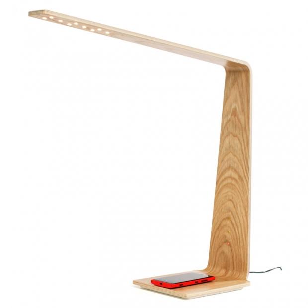 Stolná lampa LED8 Qi, dub