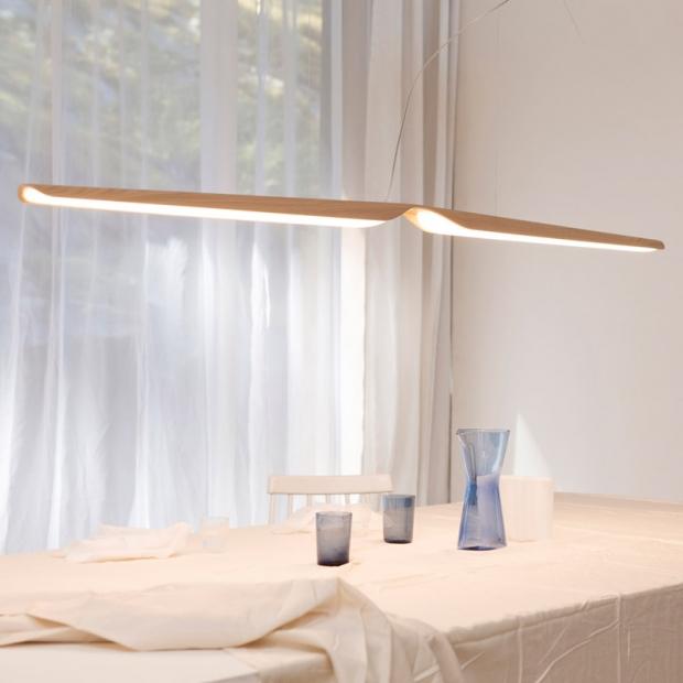 Závěsná lampa Swan, dub