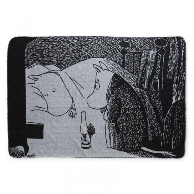 Bavlnená deka Moomin Night 120x180, čierno-biela