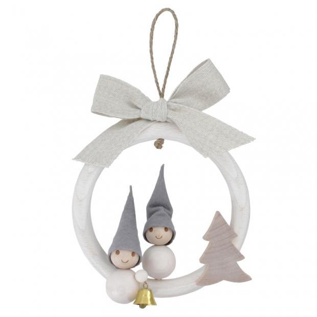 Závesná dekorácia Vianočný škriatkovia, biela