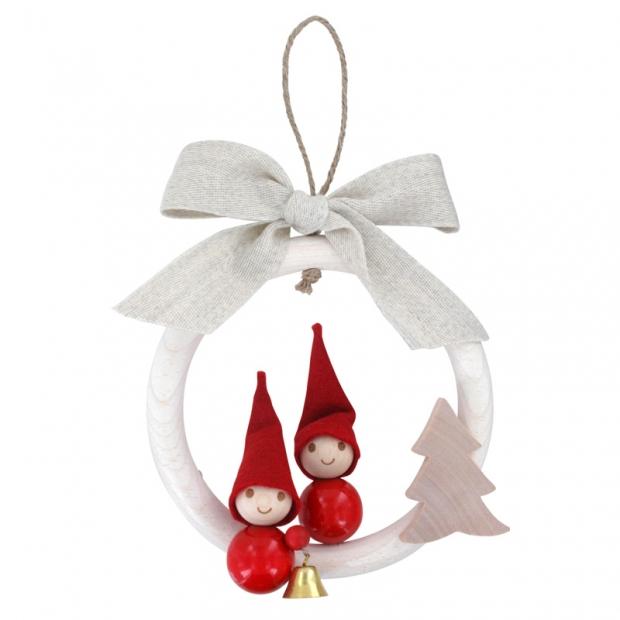 Závesná dekorácia Vianočný škriatkovia, červená