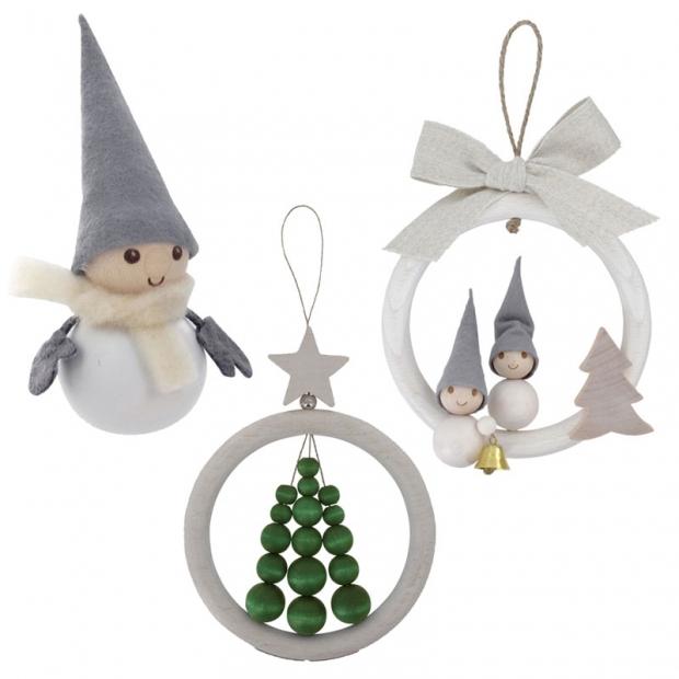 Sada vánočních dekorací, bílá