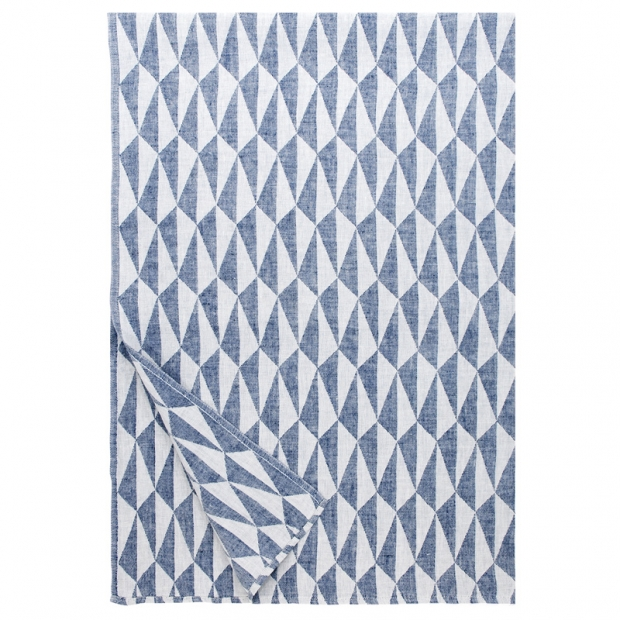 Lněná deka Triano 140x200, modro-bílá