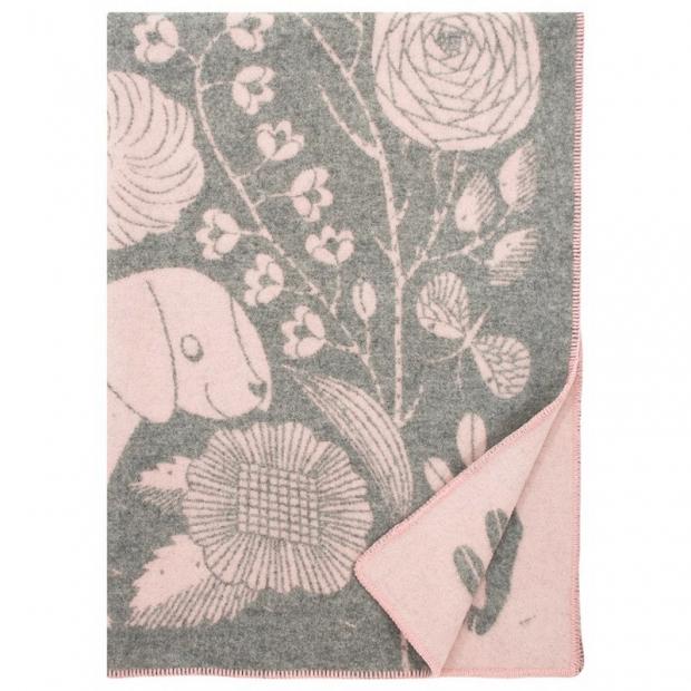 Vlněná deka Koira ja Kissa 90x130, šedo-růžová