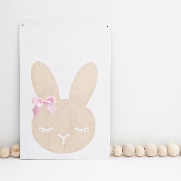 Plagát Bunny 20x30cm, breza / biely