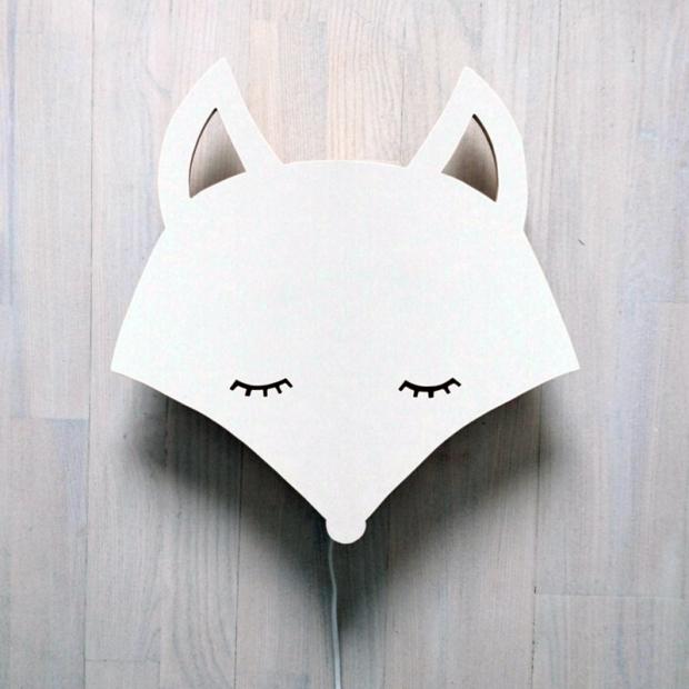 Nástěnná lampa Fox, bílá