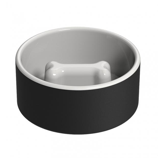 Chladiaca miska pre psov proti hltaniu, čierna