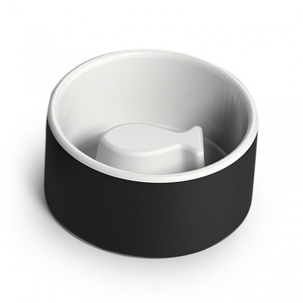 Chladiaca miska pre mačky proti hltaniu, čierna