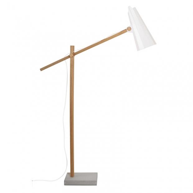 Stojací lampa Filly, dlouhé rameno / bílá