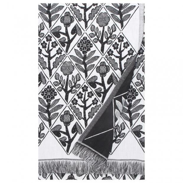 Deka / obrus Kukat 140x240, bielo-čierna