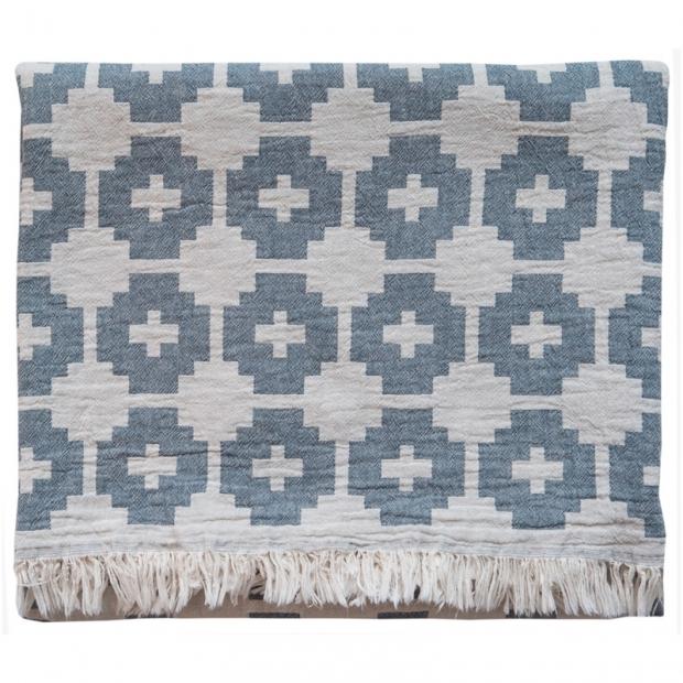 Bavlněná deka Flower 130x170, tmavě modrá