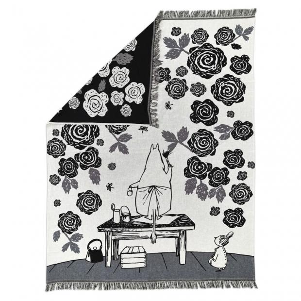 Bavlnená deka Moomin Rose Garden 130x170, čierno-biela