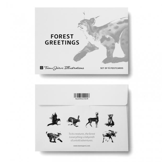 Set pohľadníc Forrest Greetings A6, 6ks