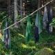 Osuška Terva 85x180, černo-šedo-zelená
