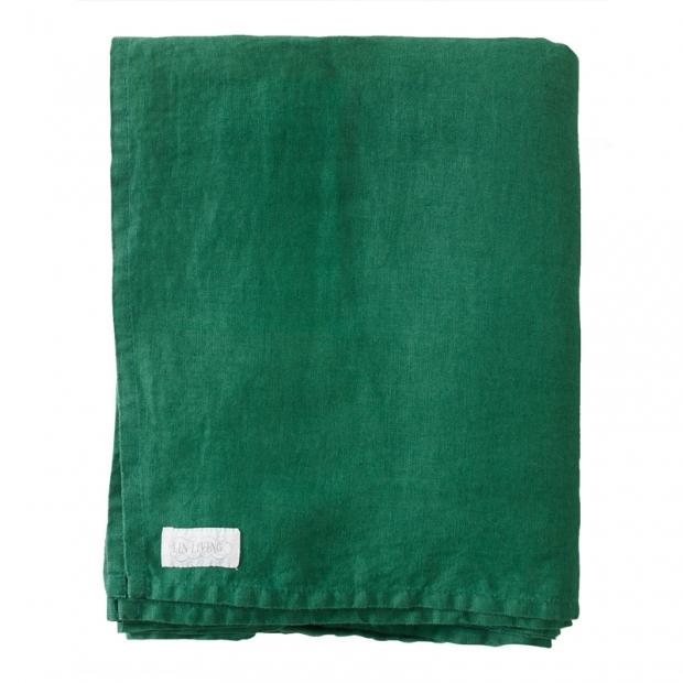 Lněné prostěradlo 270x270, zelené