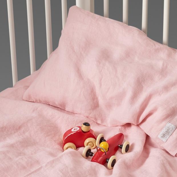 Dětské lněné povlečení 100x130, růžové