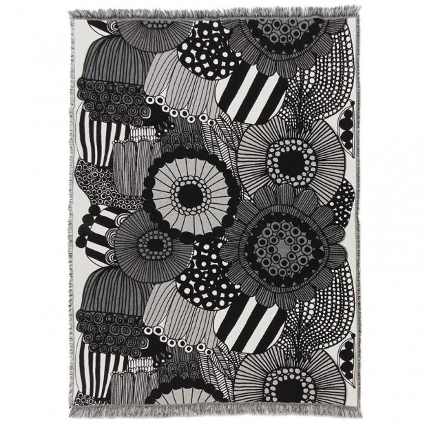Bavlnená deka Siirtolapuutarha 130x180, čierno-biela