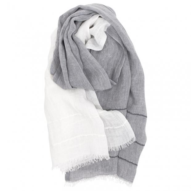 Šál Tsavo, ľan / sivo-biely