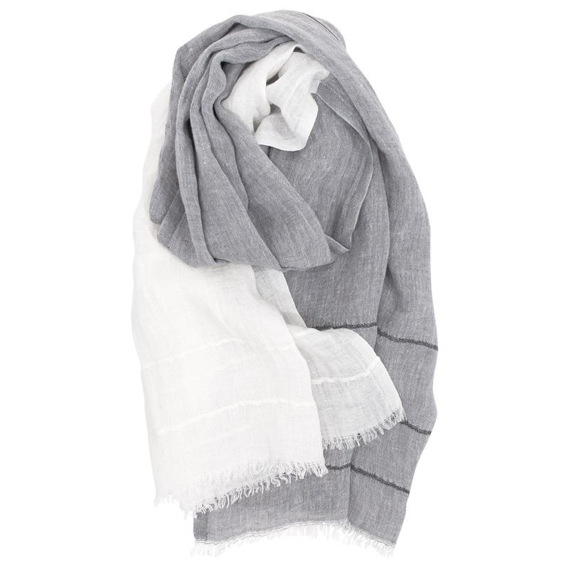Šál Tsavo 70x200, šedo-bílý