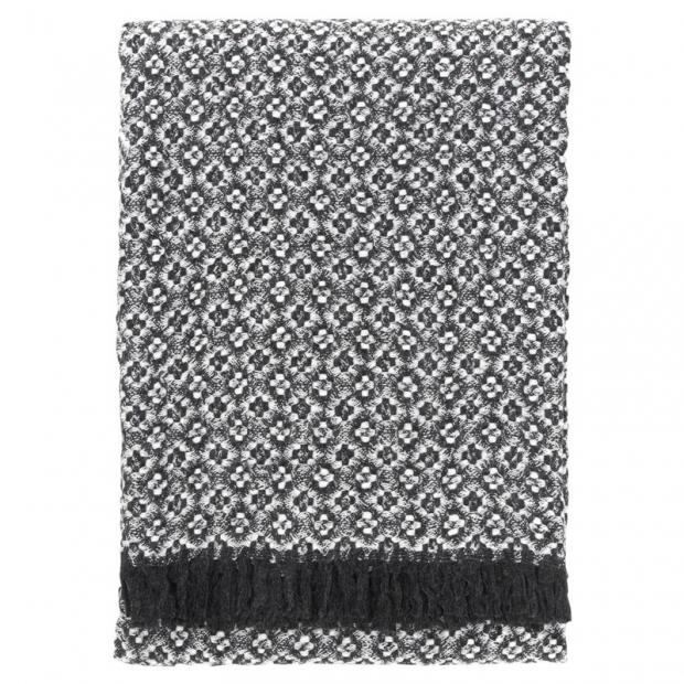 Vlněná deka Keto 130x170, tmavě šedá-bílá