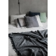 Vlnená deka Keto 130x170, tmavo sivá-biela