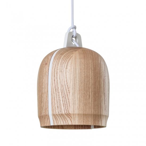 Závěsná lampa Poiju, bílá / dub