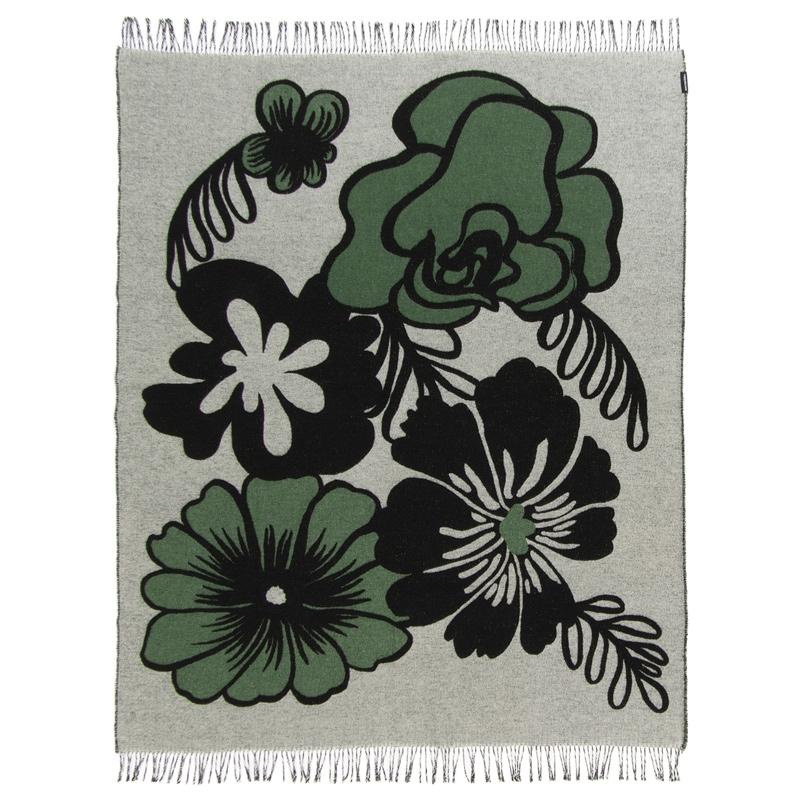 Deka Eläköön elämä 130x180, černo-bílo-zelená