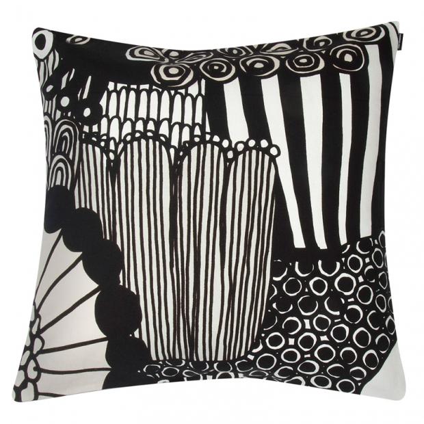 Obliečka na vankúš Siirtolapuutarha 50x50, čierno-biely