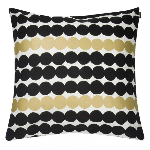 Obliečka na vankúš Räsymatto 50x50, čierno-bielo-zlatý