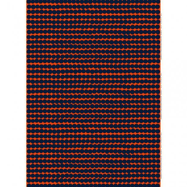 Látka Räsymatto 10m, bavlna-len / oranžovo-modrá