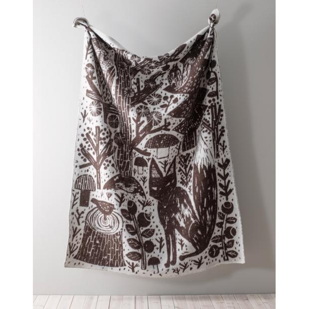 Vlněná deka Metsikkö 90x130, hnědo-bílá