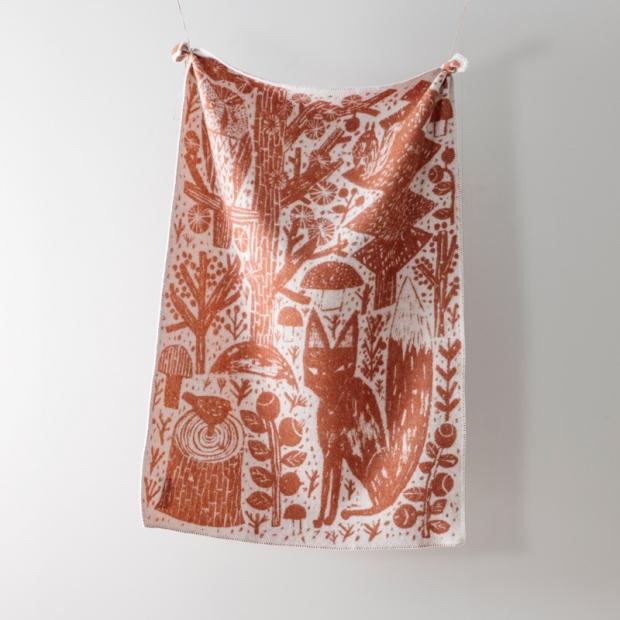 Vlněná deka Metsikkö 90x130, skořicově-bílá