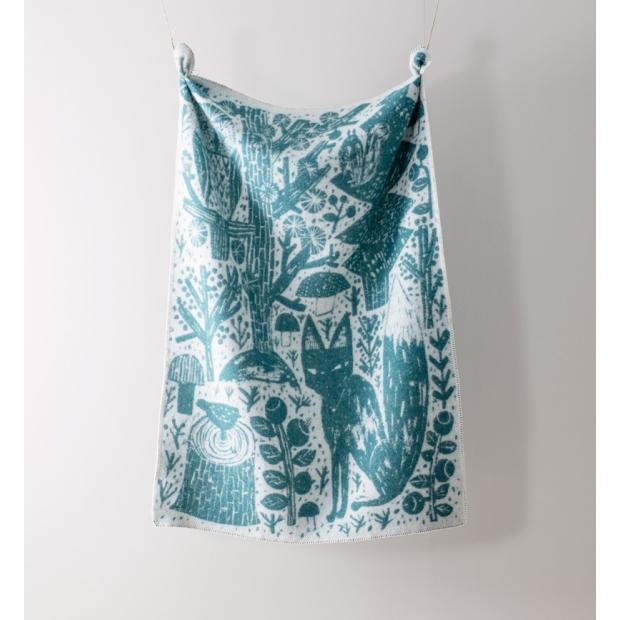 Vlněná deka Metsikkö 90x130, zeleno-bílá
