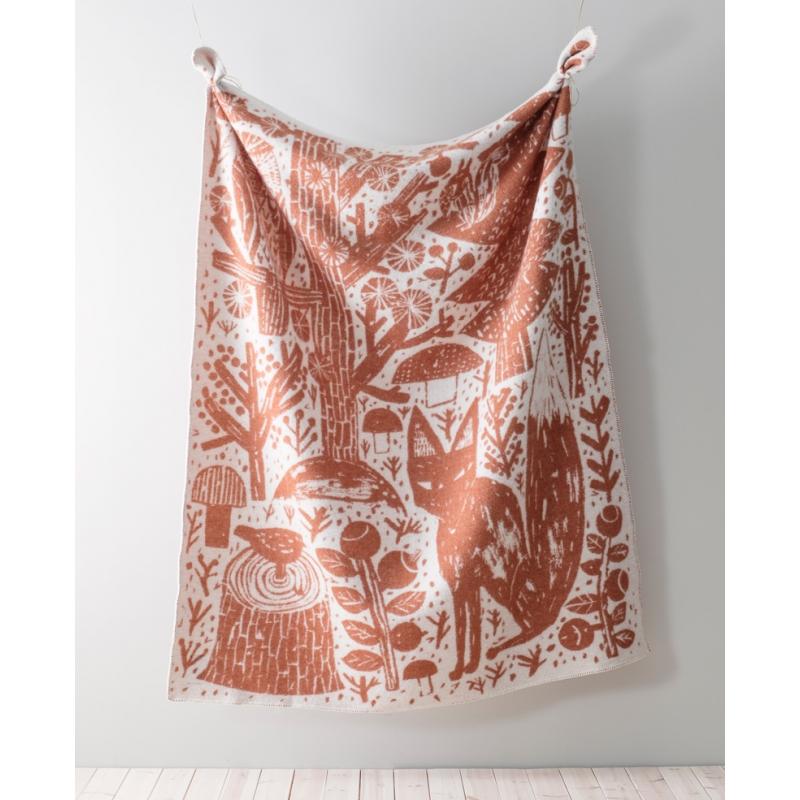 Vlněná deka Metsikkö 130x180, skořicově-bílá