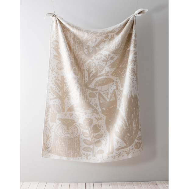 Vlnená deka Metsikkö 130x180, zlato-biela