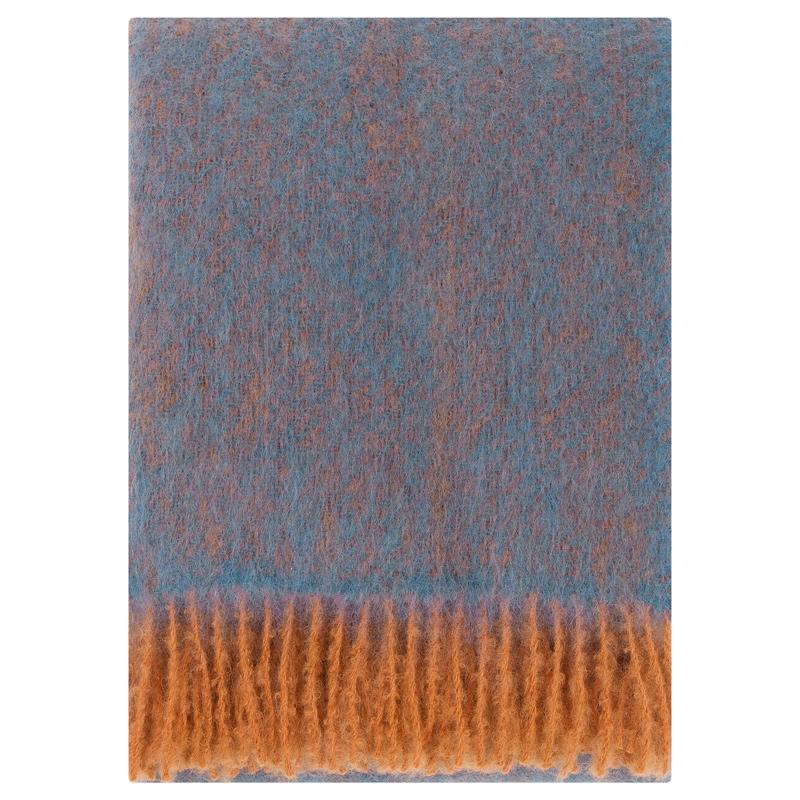 Mohérová deka Revontuli 130x170, denim-oranžová