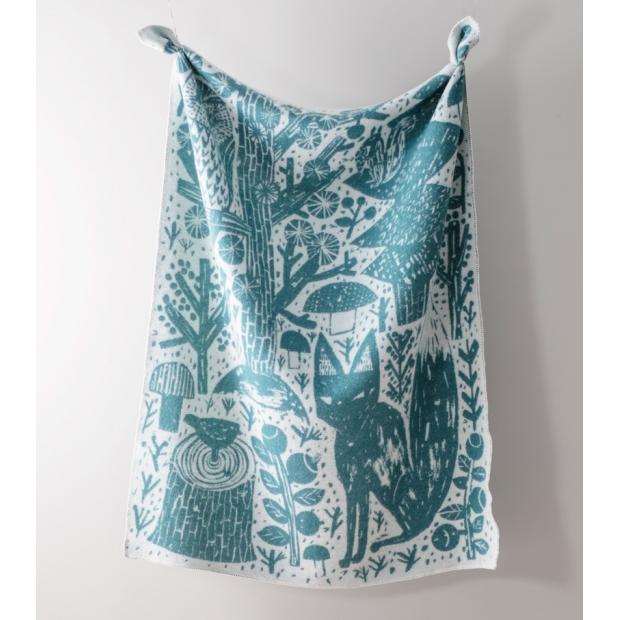 Vlnená deka Metsikkö 130x180, zeleno-biela
