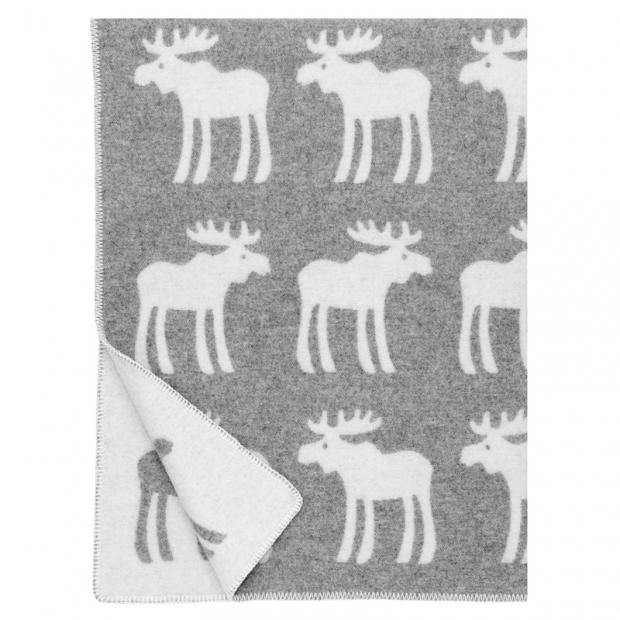 Vlnená deka Hirvi 130x180, sivo-bila
