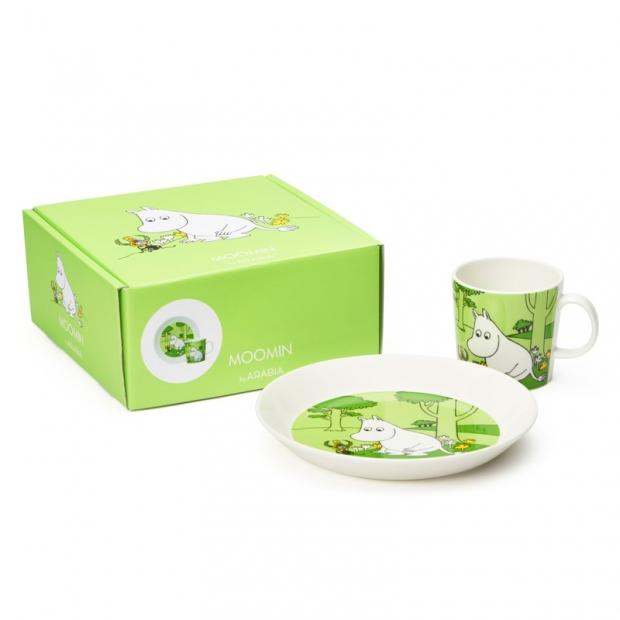 Set hrnku a talíře Moomintroll, zelený