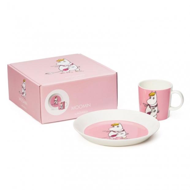 Set hrnku a talíře Snorkmaiden, růžový