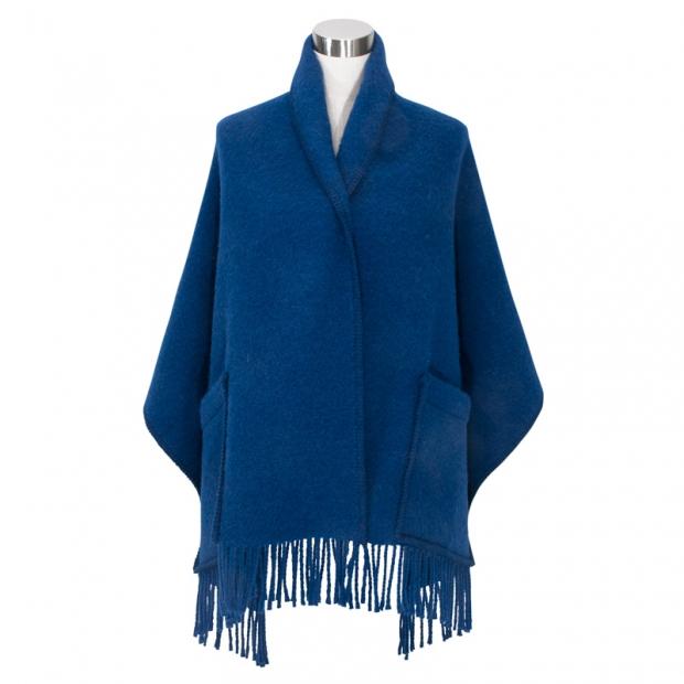 Šál Uni, s vreckami / čučoriedkovo modrý