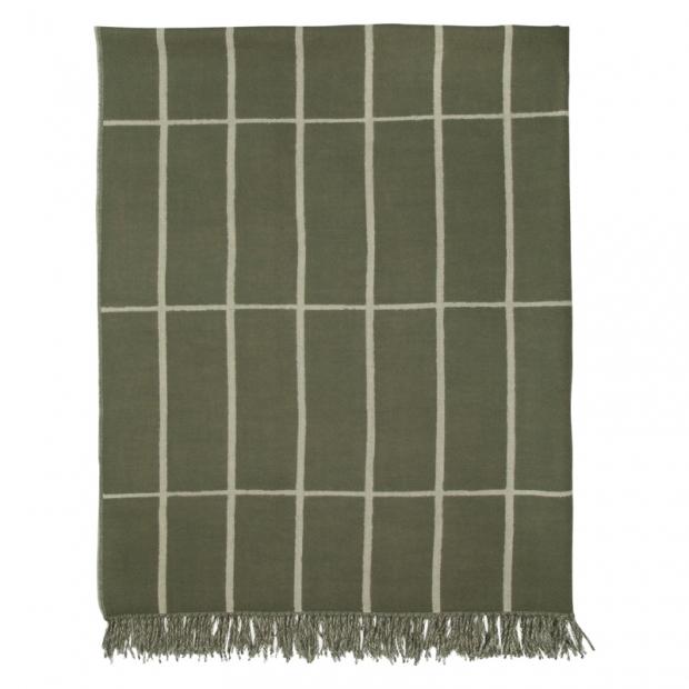 Vlnená deka Tiiliskivi 130x180, zeleno-biela