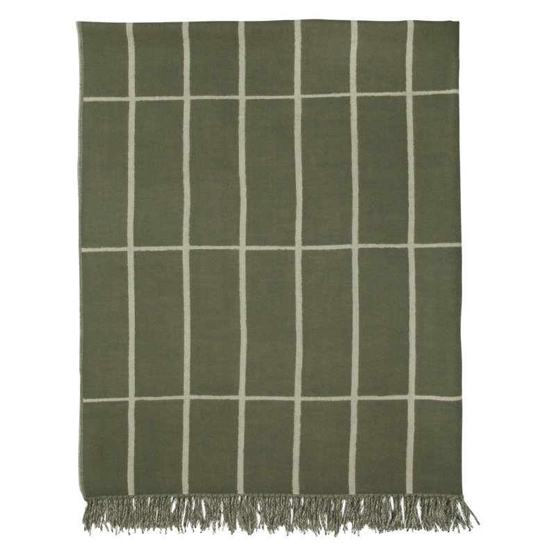 Vlněná deka Tiiliskivi 130x180, zeleno-bílá