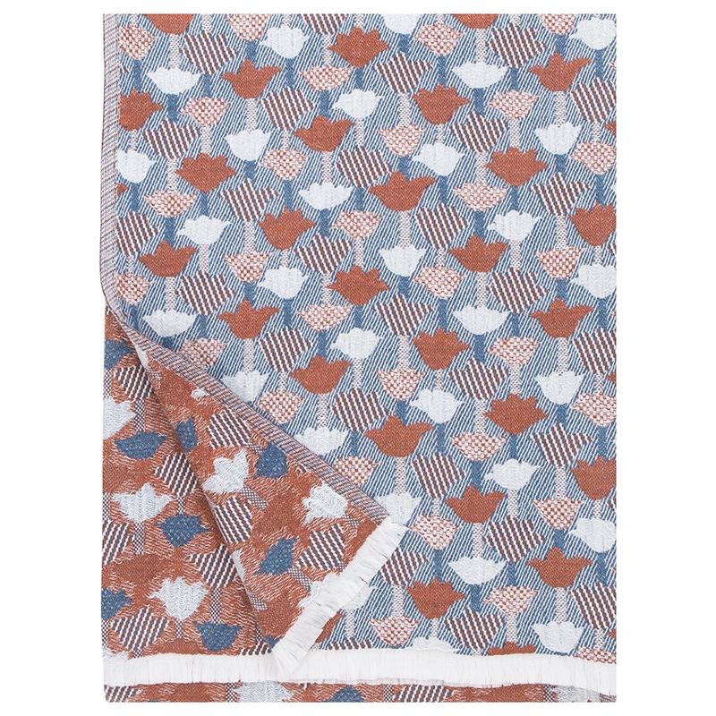 Deka / ubrus Tulppaani 130x240, skořicově-modrá
