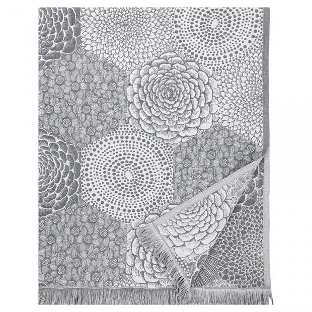 Lněná deka / ubrus Ruut 140x240, šedo-bílá